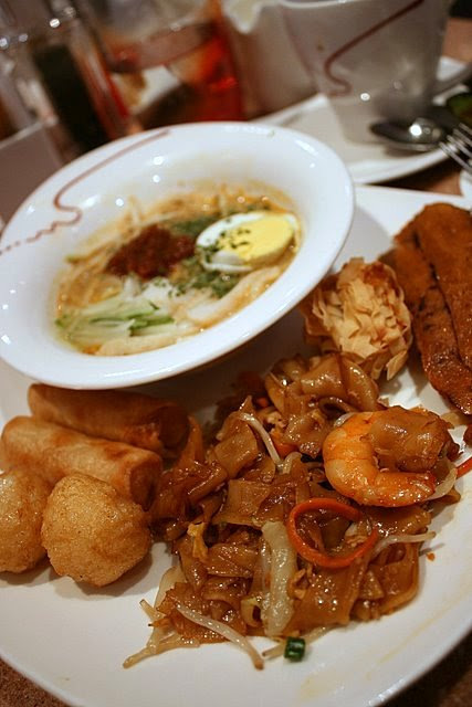 Laksa, fried kway teow, seafood otah and fried items