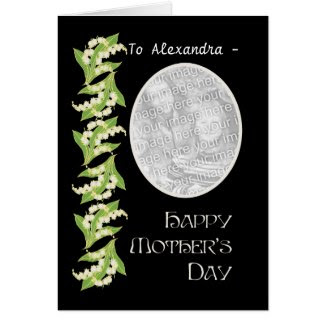 Lily Mothers Day Photo Card, Black, to Personalize
