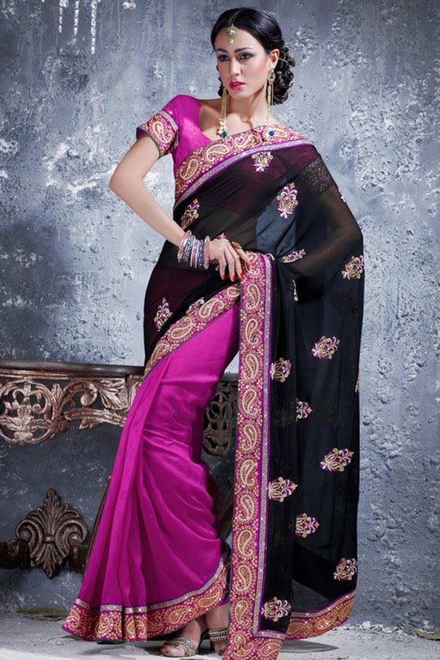 Indian-Brides-Bridal-Wedding-Party-Wear-Embroidered-Saree-Design-New-Fashion-Reception-Sari-3