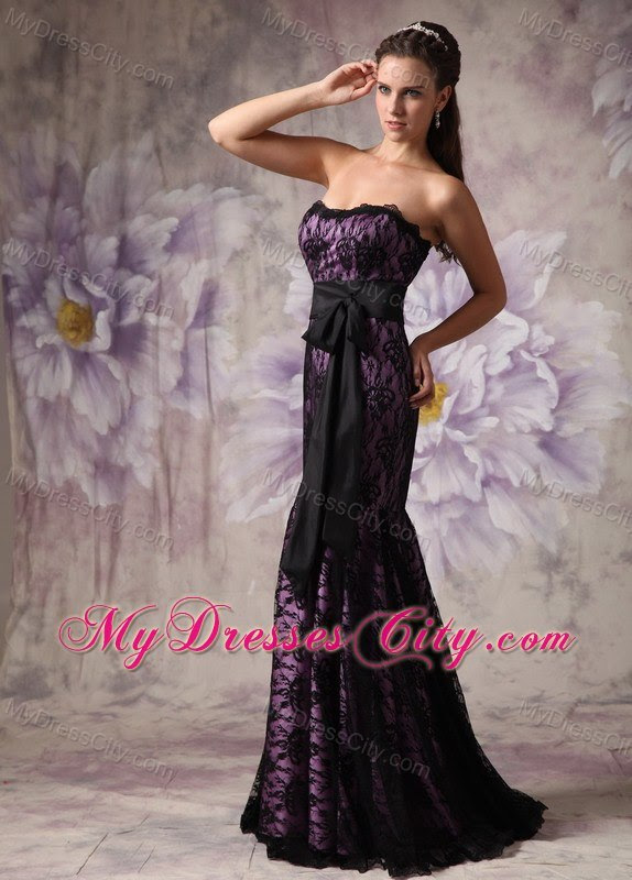 Purple and black evening dresses