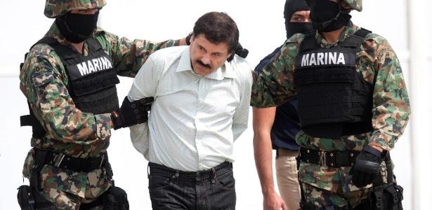 O traficante de drogas Joaquín El Chapo Guzmán, quando foi capturado em fevereiro de 2014