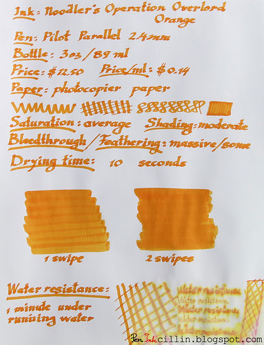 Noodler's Operation Overlord Orange photocopier