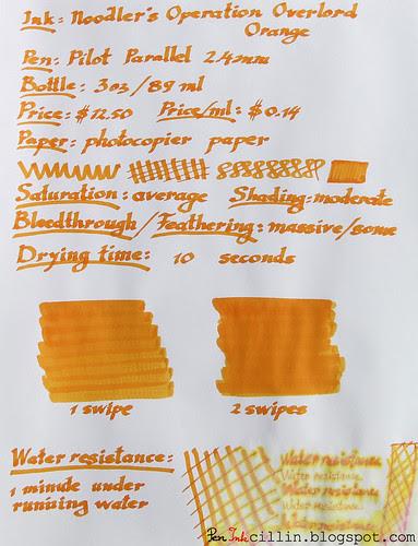 Noodler's Operation Overlord Orange photocopier