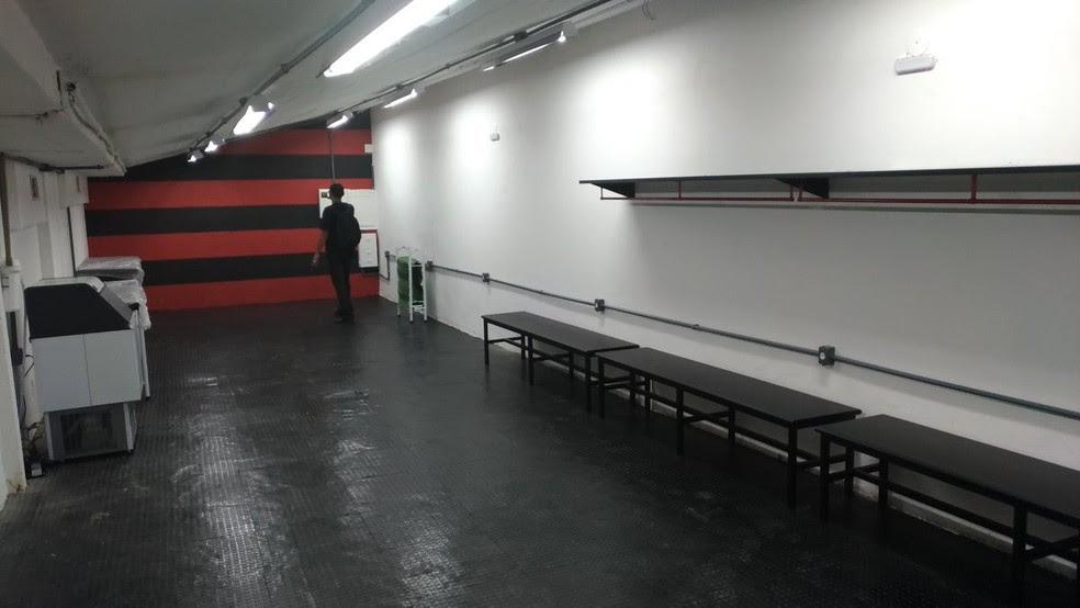 Vestiário do Flamengo na nova Arena (Foto: Vicente Seda)