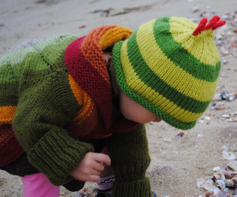 Green Dinosaur Striped  Baby Hat