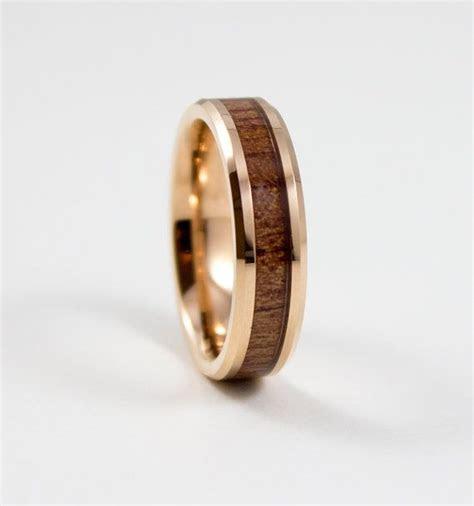 Men's Wedding Band Rose Gold Hawaiian Koa Wood by