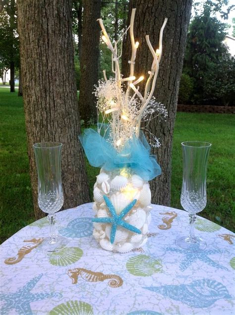turquoise seashell light  centerpiece ebay