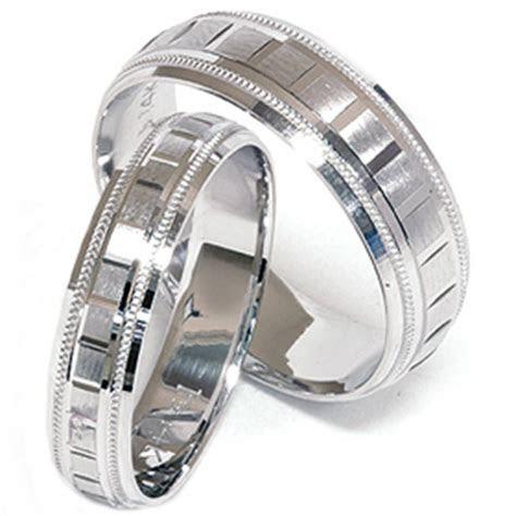 Matching His Hers White Gold Wedding Band Ring New Set   eBay