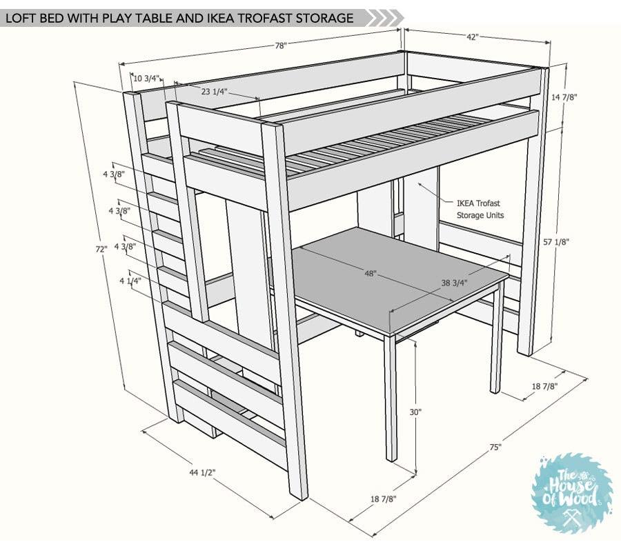 Loft Bed Plans For Kids Diy, Loft Bed With Desk Plans
