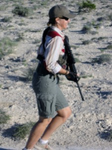 Woman running with the lightweight Stag Arms 2L AR