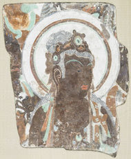 """""""Bust of an Attendant Bodhisattva,"""" fragment of a wall painting from Dunhuang, Gansu Province, early eighth century."""