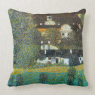 Castle Chamber at Attersee II by Gustav Klimt throwpillow