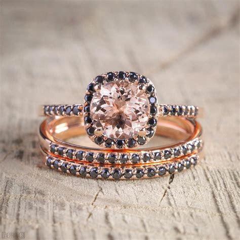 Sale 2.50 carat Morganite and Black Diamond Trio Wedding