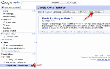 Google reader alerts