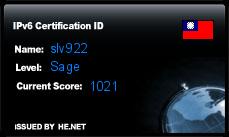 IPv6 Certification Badge for slv922