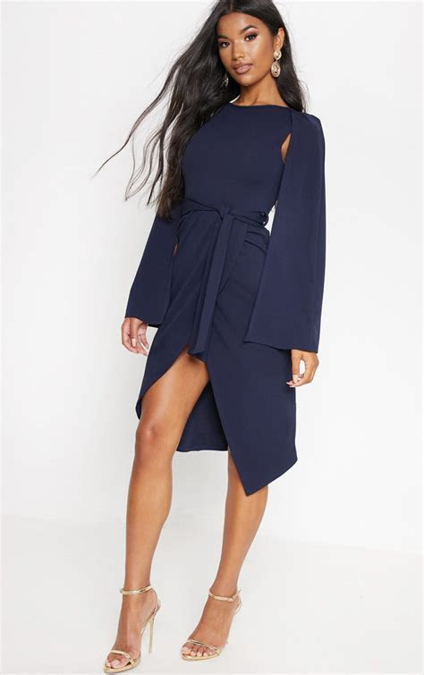 Navy Cape Style Wrap Midi Dress   Dresses
