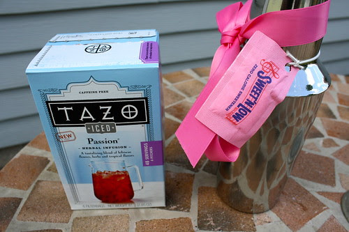 Tazo Iced Passion tea and cocktail shaker