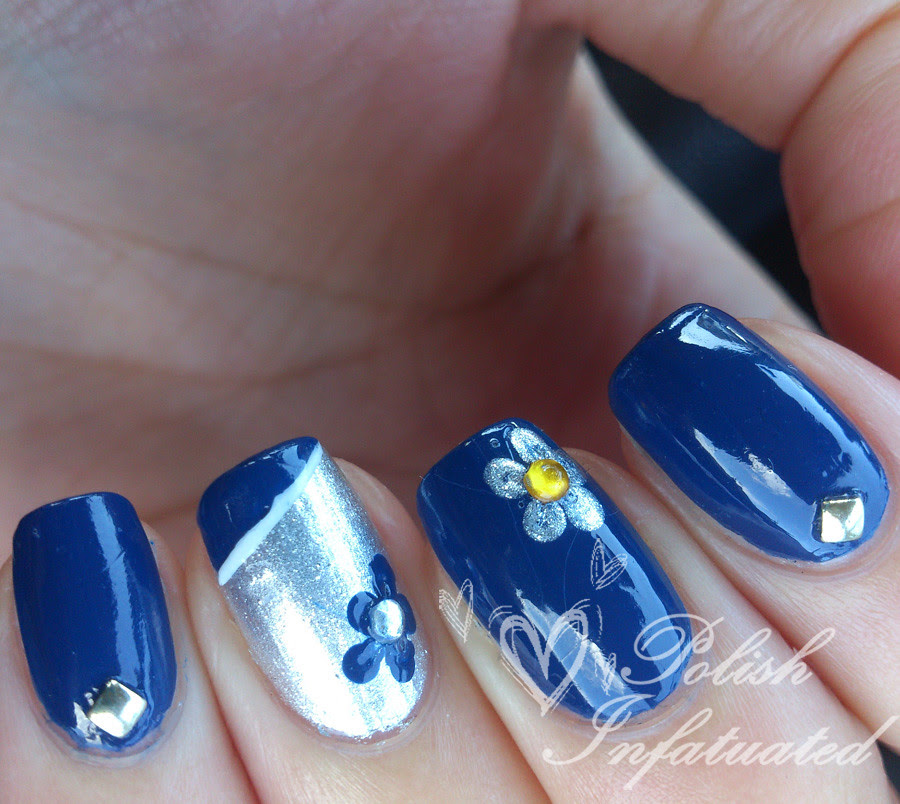 blue, flowers and studs1