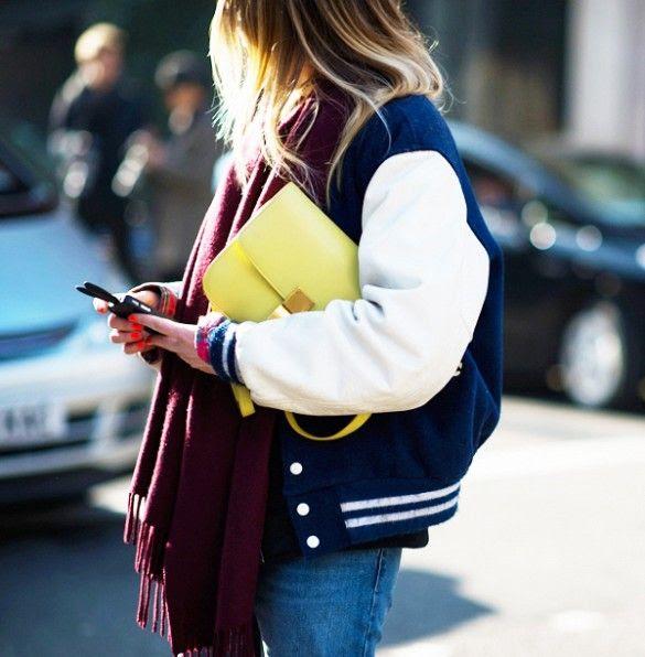 Varsity jacket & Celine bag.