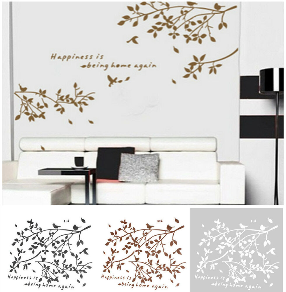 Black Removable Tree Branches Birds Vinyl Wall Sticker Decor Decal Living Room  eBay
