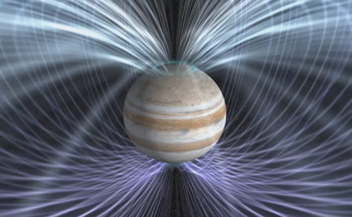 The Juno spacecraft will provide insights on how Jupiter's magnetic field is generated. Credit: NASA Goddard Space Flight Center.