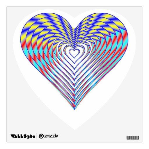 Rainbow Wedding Favor Heart Wall Skins