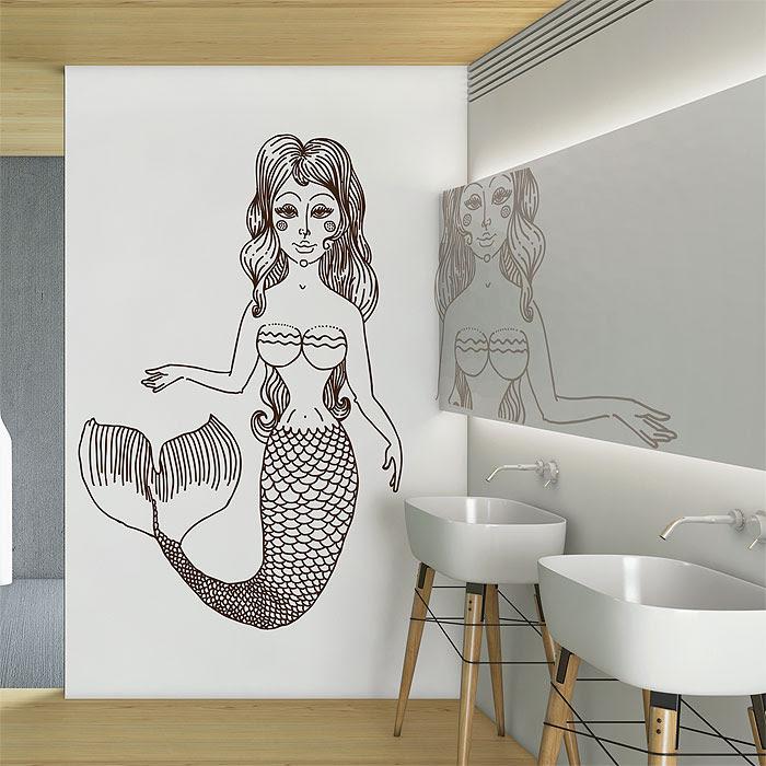 Mermaid Meerjungfrau Wandaufkleber Wandtattoo