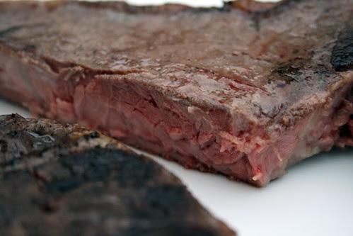 Cut sous vide steak