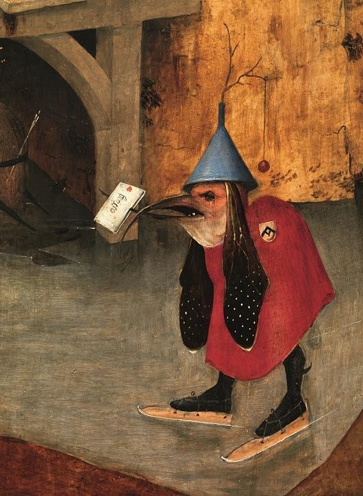Jérôme Bosch, Triptyque des Tentations de Saint Antoine, vers 1502. Volet de gauche ouvert : Saint Antoine poursuivi par les démons(détail). Huile sur panneau de chêne. Lisbonne, Museu Nacional de Arte Antiga.  Photo Luísa Oliveira