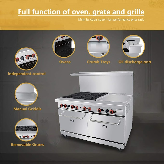 Commercial Kitchen Gas Burner Range with Griddle and 2 Ovens