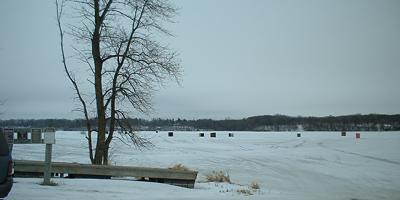 Ice fishing houses on Sauk Lake, Sauk Centre