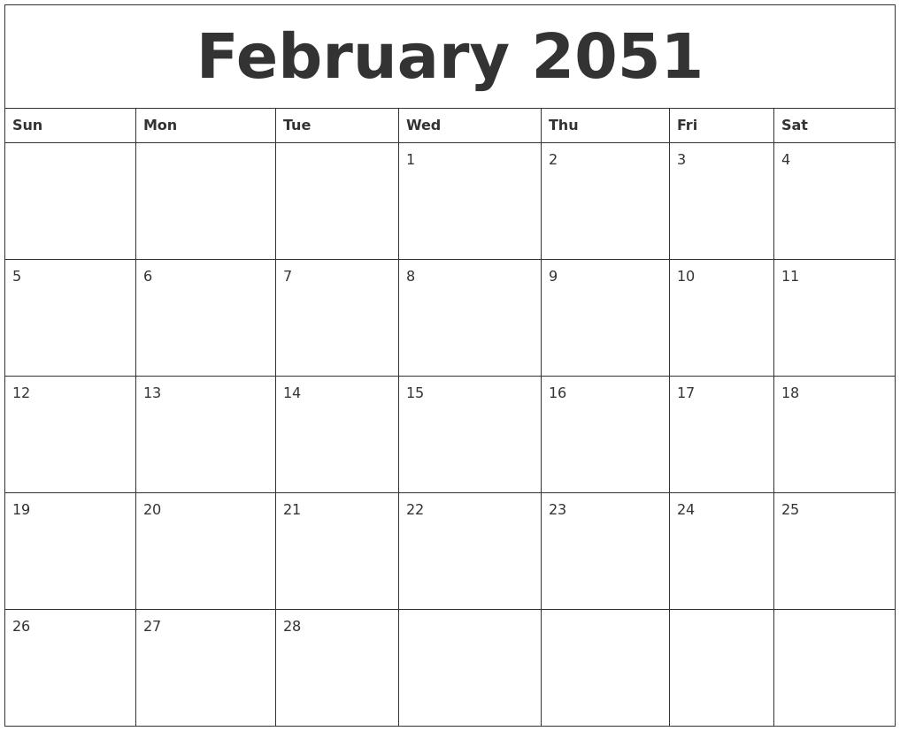february 2051 weekly calendars