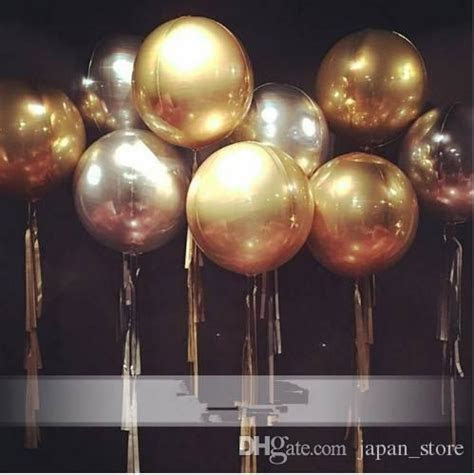 23inch Gold Silver 4D Round Foil Balloons Wedding Birthday
