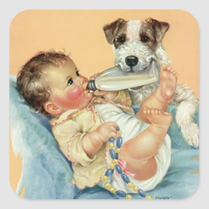 Vintage Cute Baby Boy with Bottle and Puppy Dog Sticker