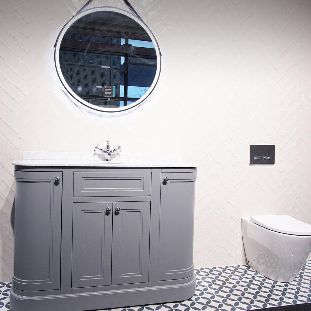 Hampton 1200mm Curved Floorstanding Vanity Unit With Marble Worktop An Deluxe Bathrooms