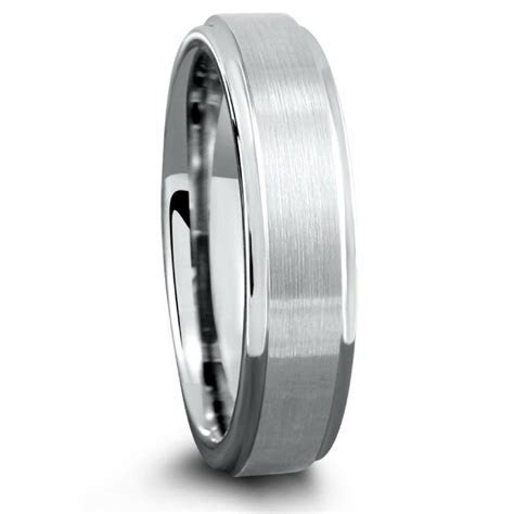 6mm Tungsten Wedding Band With Matte Center and Step Down