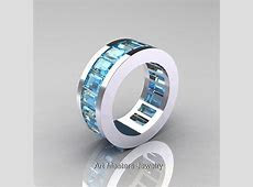 Mens Modern 14K White Gold Aquamarine Channel Cluster Infinity Wedding Band R174 14WGAQ   Art