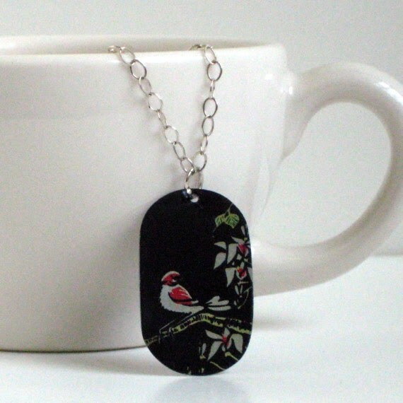 Red Finch Tea Tin Necklace