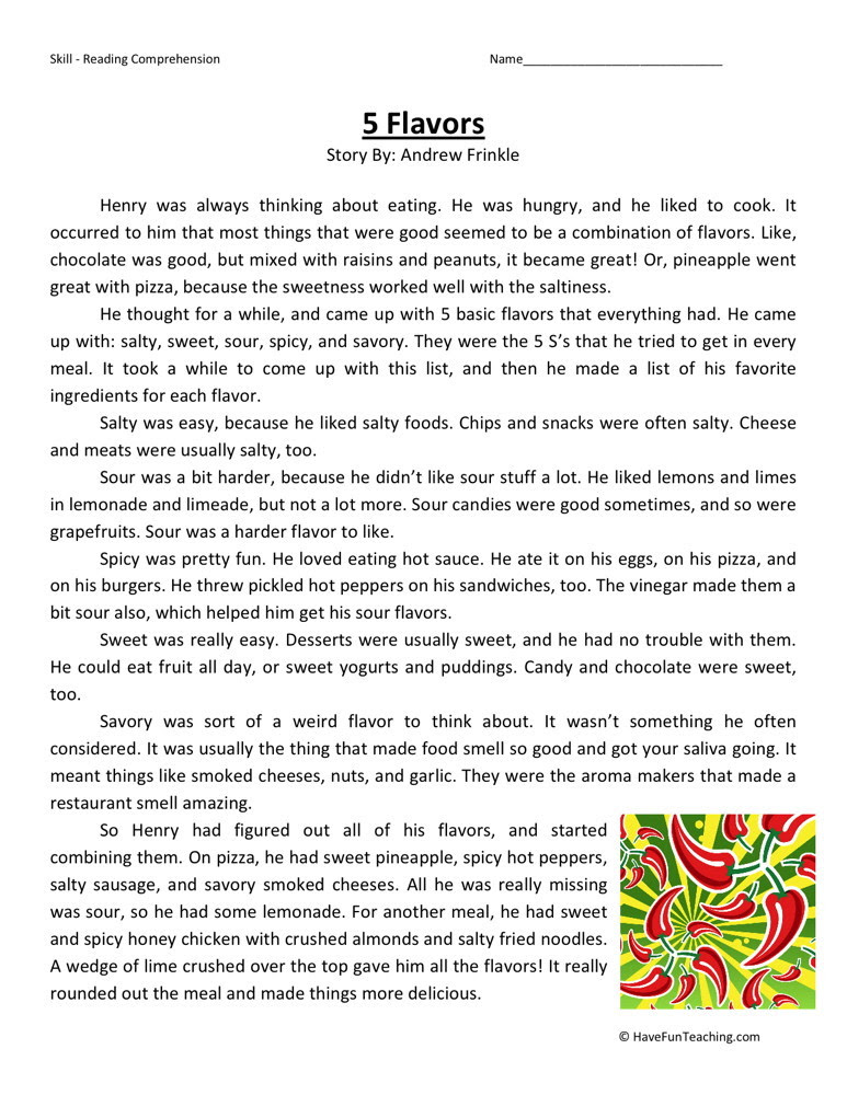 Reading Prehension Worksheet 5 Flavors