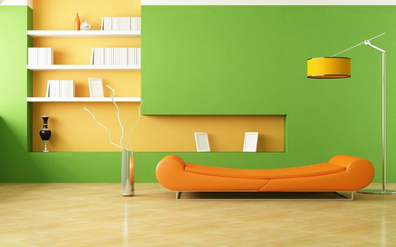 Arrière-plan design d'intérieur de salon vert et jaune.