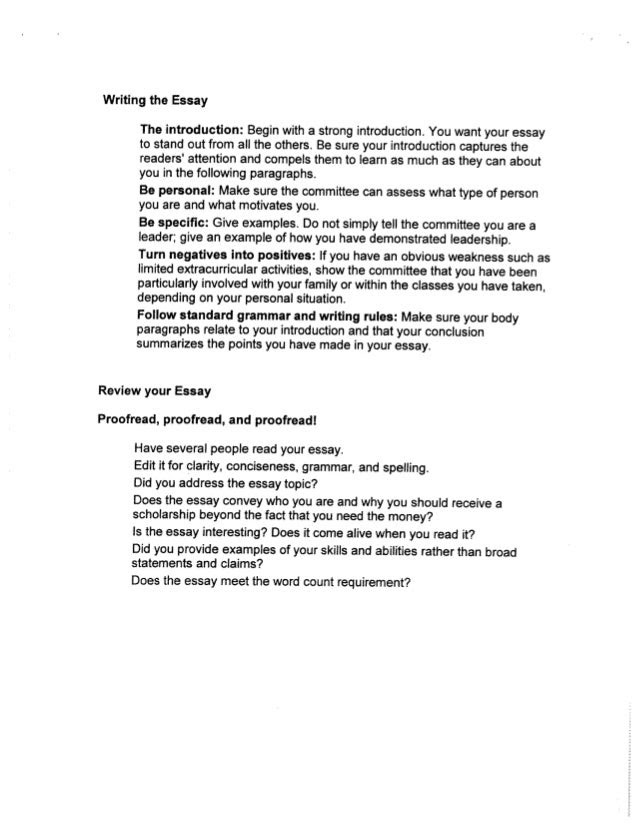 how to write a good essay for a scholarship