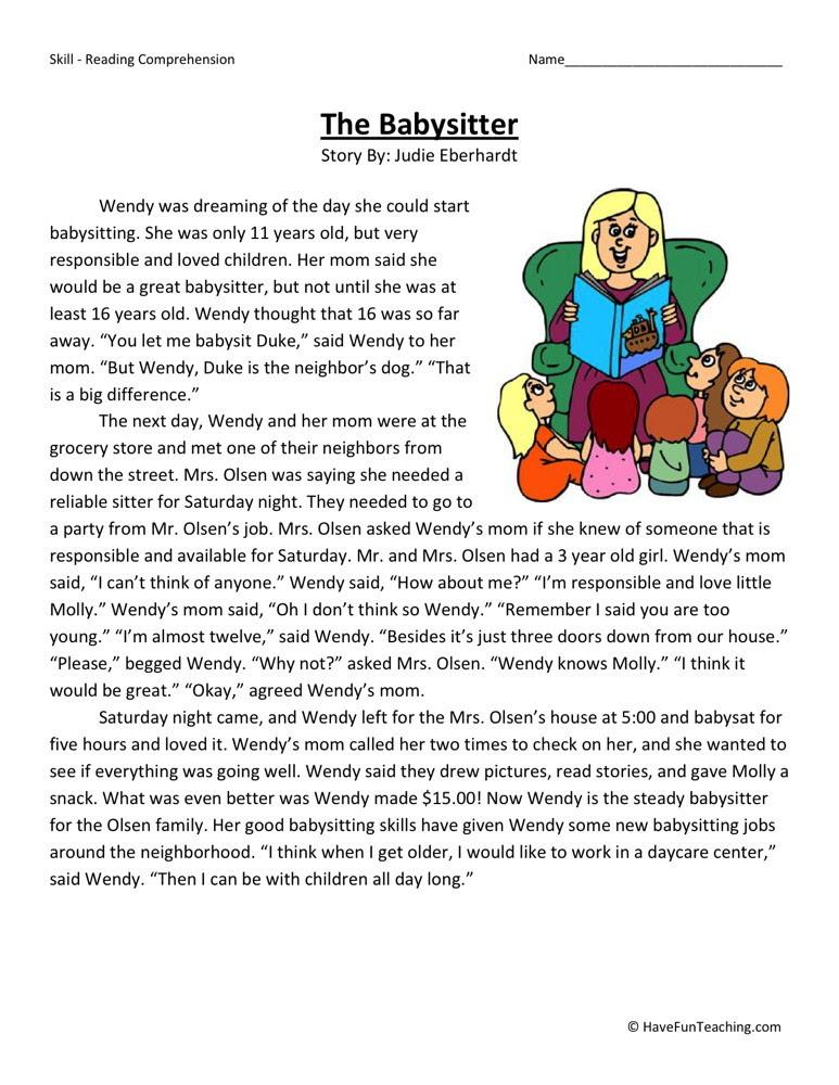 Reading Prehension Worksheet The Babysitter