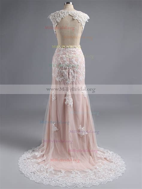 Cap Sleeve Prom Dress with Beaded Belt, White Open Back