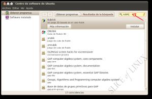 Buscamos rubik en el Centro de software de Ubuntu