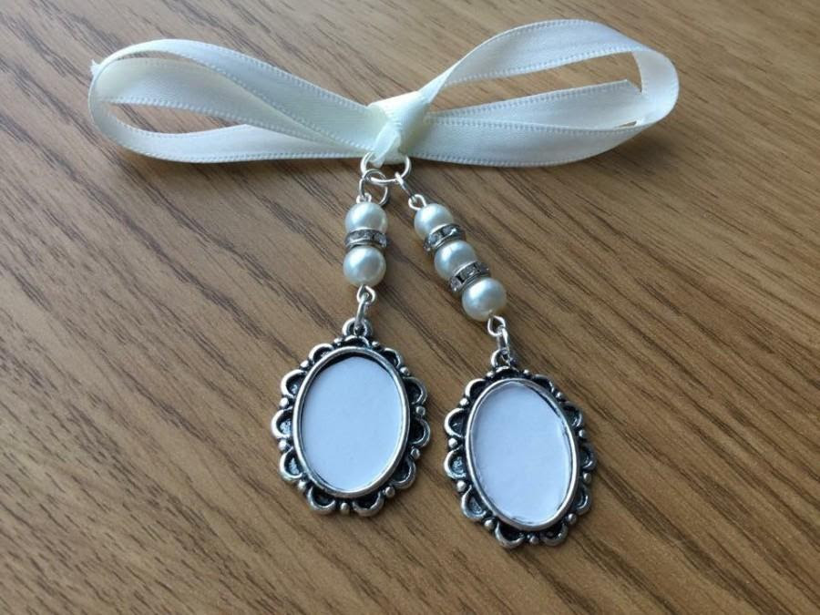 Bridal Bouquet Double Oval Photo Frame Memory Charm Wedding Handmade