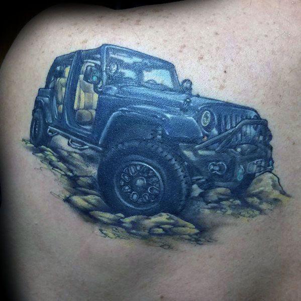Jeep Truck Mens Voltar Tatuagem