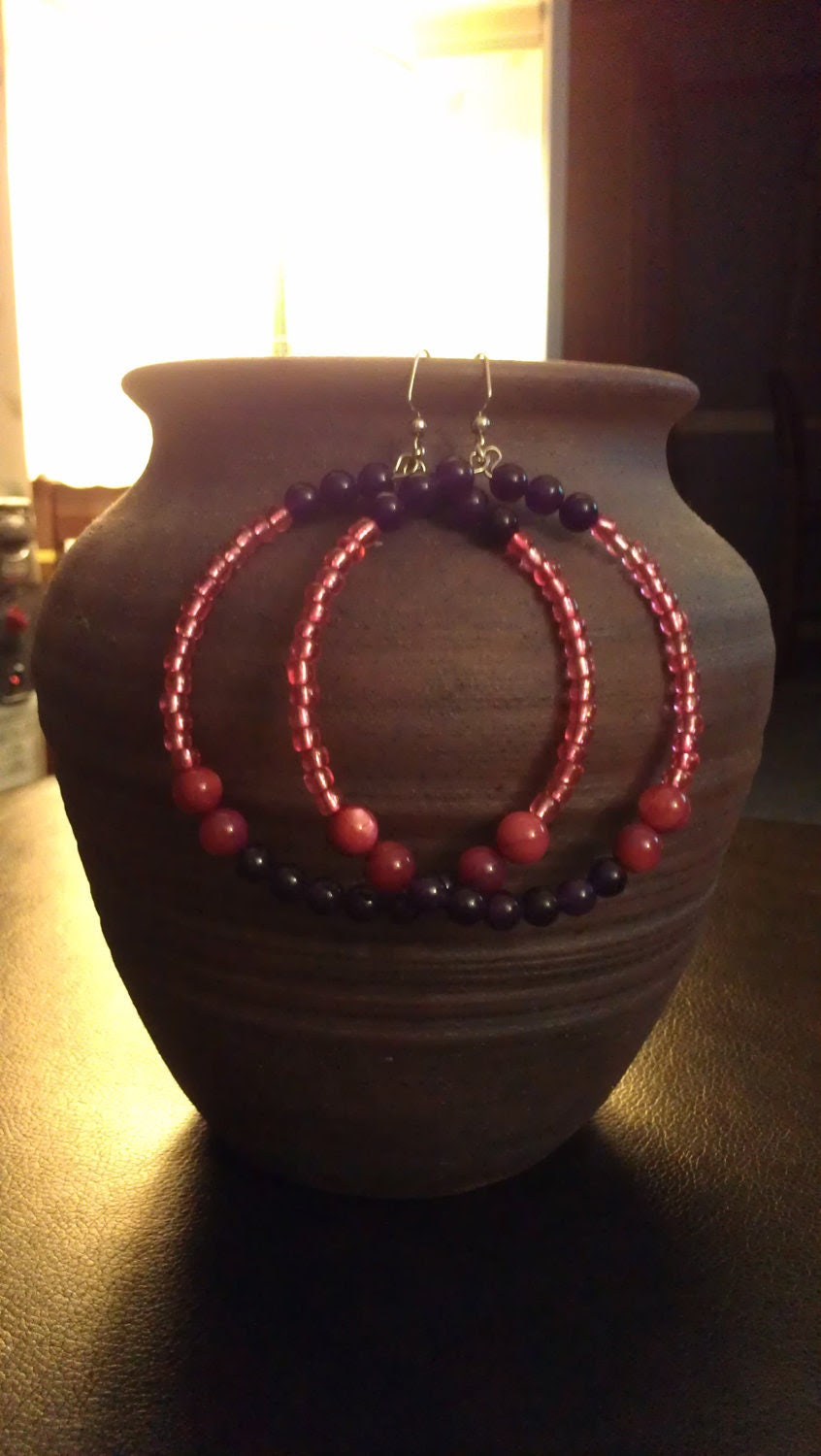 "Purple and Pink Beaded Hoop Earrings with Glass Beads: ""Sugar and Spice"""