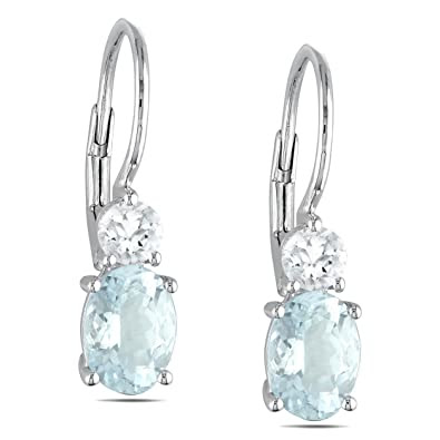 Created White Sapphire and Aquamarine Earrings