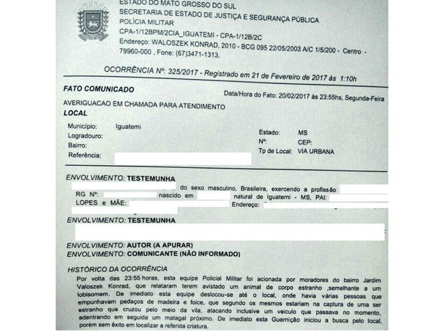 Boletim de ocorrência registrado por moradores, que afirmam ter visto o lobisomem (Foto: Polícia Civil/Divulgação)