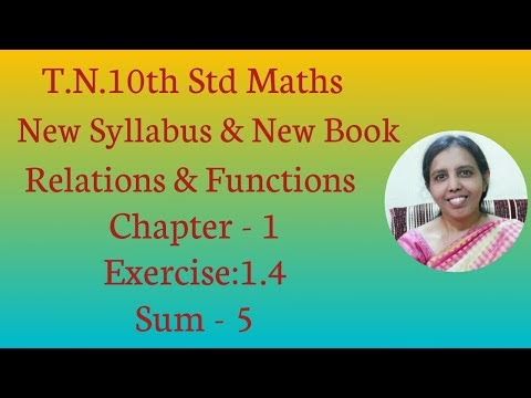 10th std Maths New Syllabus (T.N) 2019 - 2020 Relations & Functions Ex:1.4-5